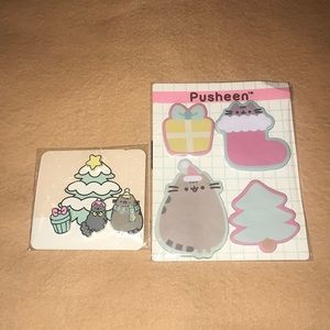 Pusheen Christmas Pins/ Sticky Notes NWT